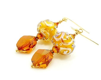 Gold Earrings, Lampwork Earrings, Glass Earrings, Glass Bead Earrings, Lampwork Jewelry, Beadwork Earrings, Gold Dangle Earrings
