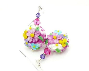 Colorful Floral Earrings, Flower Earrings, Lampwork Earrings, Glass Earrings, Glass Bead Earrings, Beadwork Earrings, Lampwork Bead Jewelry