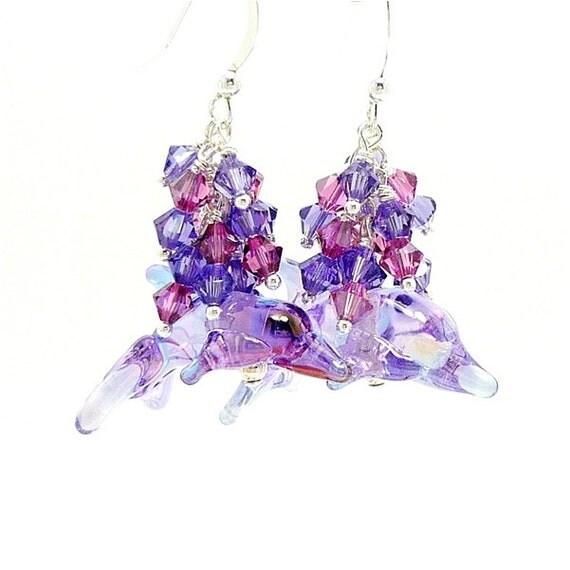 Purple & Pink Dolphin Earrings Fun Whimsical Earrings Beaded