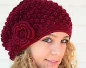 Winter Accessories, Womens Hat, Hand Knitted Hat, Burgundy Knit Hat,Slouchy Hat, Beret, Ribbed, Chunky, Cute Hat, Beanie, Painter Hat