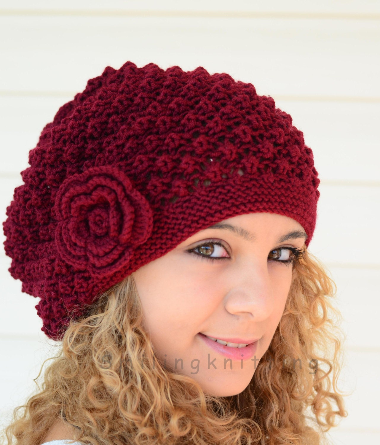Hand Knitted Hat Patterns : Hand Knitted Hat Burgundy Knit HatSlouchy Hat Beret