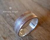 Mokume Gane Ring - Wedding Ring - Ready To Ship - Mokume Gane Wedding Ring ( MK-Split Brushed )