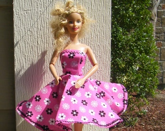 Handmade Barbie Doll Clothing ~ Pink with Black and White Flowers Barbie Doll Dress