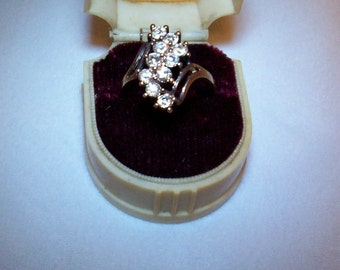 Ring, Gold And Rhinestone Ring, Cocktail Ring, Size 9,  # 101
