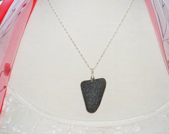 Sea Glass Jewelry Beach Necklace Large Deep Olive Black Sterling Silver 5227