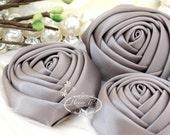 Sierra: 4pcs GREY - 50mm Adorable Rolled Satin Rose Rosettes Fabric flowers. Hair Accessories. Fascinator. Silk Rose Rosette Flowers.