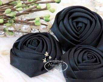Sierra: 4pcs BLACK - 50mm Adorable Rolled Satin Rose Rosettes Fabric flowers. Hair Accessories. Fascinator. Silk Rose Rosette Flowers.