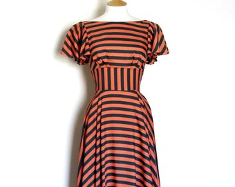 UK 10 Coral & Slate Grey Striped Swing Dress - Ready To Ship - made by Dig For Victory!