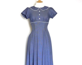Royal Blue & White Nautical Swing Dress - made by Dig For Victory