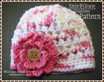 Crochet Flower Hat Pattern, Textured Beanie, KENDALL - pdf 230