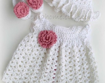 0-3 months Baby Girl Dress in Cotton, Shoes and Sunhat set in White and Pink Rose