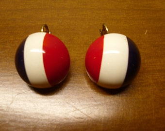 Vintage 1960's  Red, White & Blue Clip-On Earrings