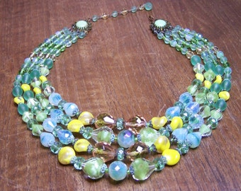 Beautiful Vintage Green & Yellow Glass Four Strand Necklace Signed Made in Germany