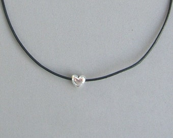 Heart Bead on Leather Necklace