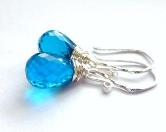 Zircon Blue Quartz Teardrop Earrings, Wire Wrapped Gemstone Briolette Earrings, Sterling Silver Earrings