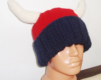 Hand Knit Viking Hat, Mens Hat in Blue Red Cream Horns - Mens Festival clothing