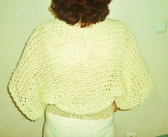Ivory shrug / Cream Shrug  / Hand knitted loose knit shrug sweater