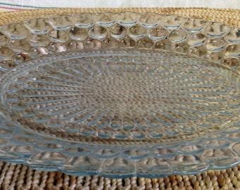 Fire King Sapphire Blue Bubble Glass Vintage Oval Serving Platter Plate