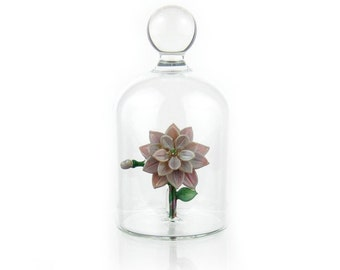 Glass Flower in a Jar - Lilac Purple Blossom