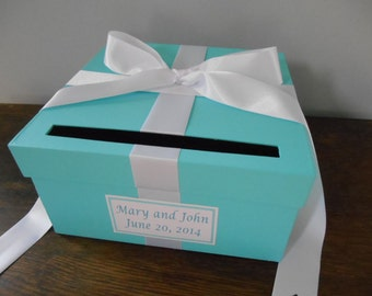 Aqua Malibu Blue Wedding Card Box with white Ribbon Bow and Personalized Tag Can Customize Colors