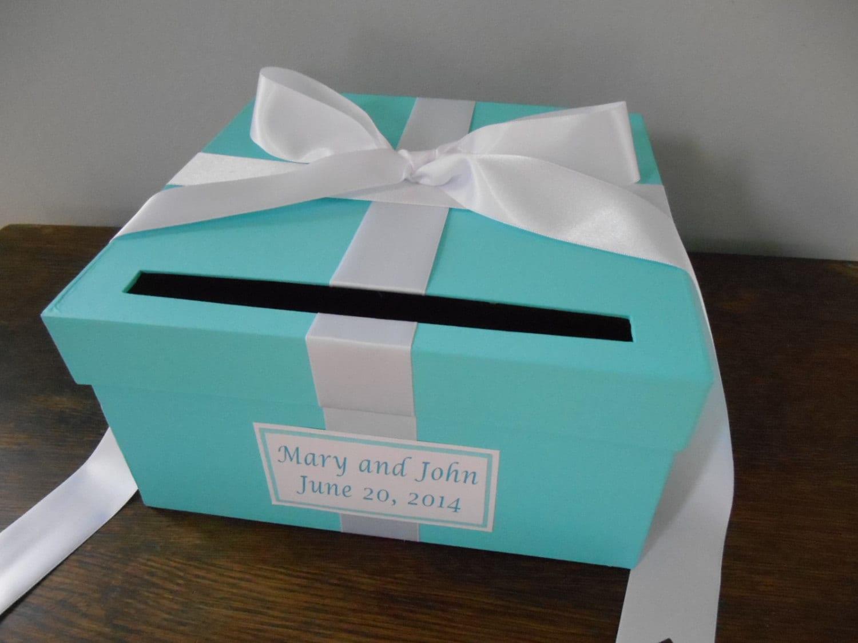 Aqua Malibu Blue Wedding Card Box with white Ribbon Bow and