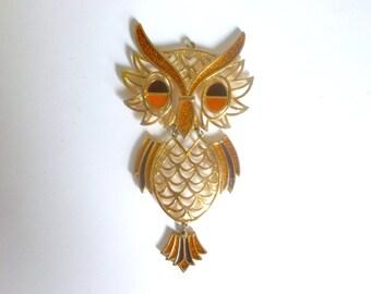 Vintage 1970's Metal Owl Necklace Pendant