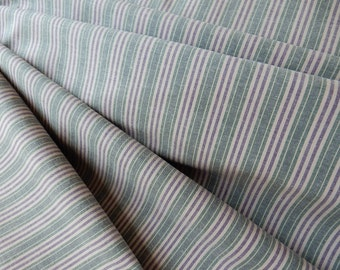 Chambray Cotton Fabric - Stripes in Hunter Green, Denim Blue and Cream - Suiting, Shirting and Decor ET727