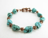 Mens Turquoise Nugget Bracelet Copper and Turquoise Guys Turquoise Bracelet Nugget Stone Jewelry