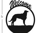 Dog Borzoi Black Metal Welcome Sign
