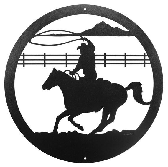 Hand Made Cowboy Roper Horse Scenic Art Wall Design New