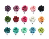 Set of 2 Oversized Flowering Rose 33mm Resin Flower Perfect for Rings or Pendants 15 color options Black Red Pink White Green Blue Purple