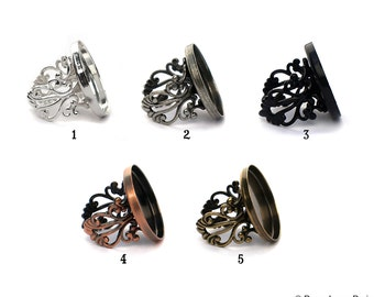 25mm Poppy Original Bezel Cup Tray Ring for Resin or Glass Cabochon Set of 4 Adjustable