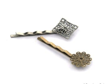 Wholesale lot of 20 pcs Filigree Circle Pad... Bobby Pins...Hair Pins with Pads 1.75 Inches long...