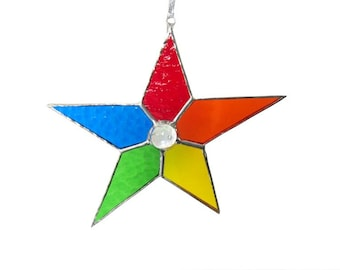 Rainbow Star Stained Glass Suncatcher Colorful  Handmade OOAK