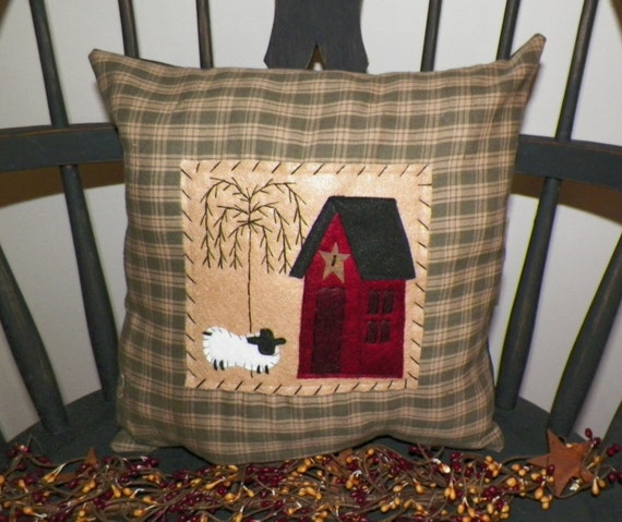 Unstuffed Pillow Cover Primitive Saltbox House Cushion Sheep