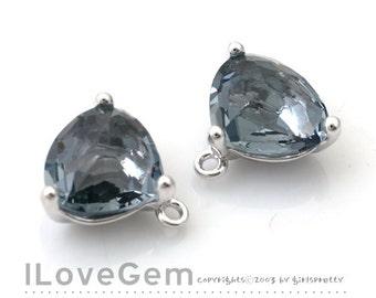 SALE 20% off // 10pcs of NP-993 Rhodium Plated, Trilliant Cut, Black Diamond, Glass pendant