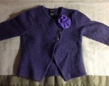 girl felt wool winter jacket dark purple color with light purple flower upcycled pure wool sweater by Mcleodhandcraftgifts for a purple girl