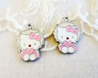 Hello Kitty Charm Pendant, Enamel Charm 23x17mm approx. - 2 pieces(N10)