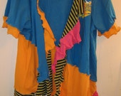 Blue and Marigold upcycled funky Tee Cardigan fits L XL 1X