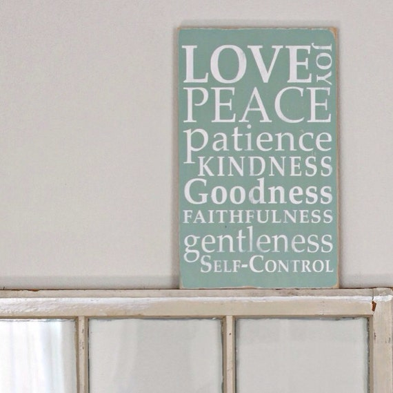 Fruit of the Spirit  Wooden Sign Home Decor by Barn Owl Primitives