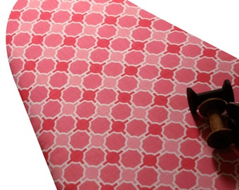 PADDED Ironing Board Cover with ELASTIC around EDGES made with Riley Blake Splendor mosaic pink and coral select your size