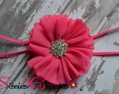 Hot Pink Chiffon Rhinestone Flower Headband