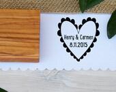 Custom Scallop Heart Olive Wood Stamp