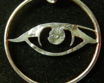 Eye Hand Cut Coin Jewelry