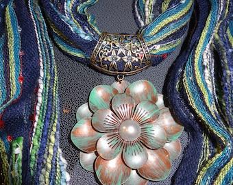 Jewelry scarf, scarf jewelry, scarf necklace, flower scarf, blue scarf, scarf pendant