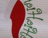 Ho Ho Ho (White) - Microfiber Waffle Weave Kitchen Hand Towel