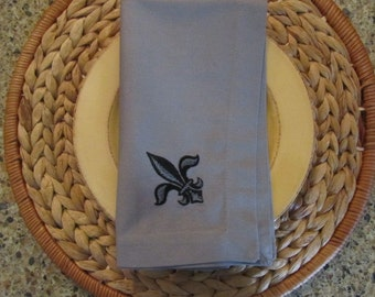 Napoleonic Fleur de Lis (Pewter) - Fete Cloth Casual Dinner Napkins 19x19 (set of 4)