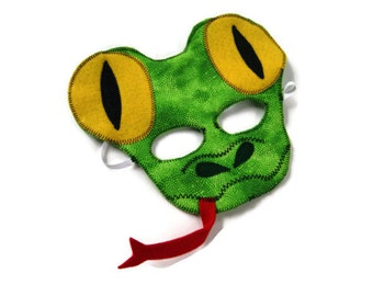 Lizard Mask, Snake Mask, Gecko Mask, Rain Forest Animal, Animal Birthday Party Favor, Child's Halloween Costume, Adult Mask, Adult Costume