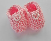 Girl baby shower decorations: hand knit baby pink mini booties with pearlised heart - 2 inches - sample