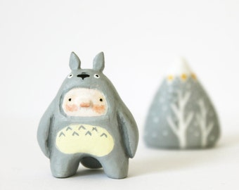 Totoro boy - Paper clay miniature - Handsculpted small figurine - Made to order